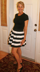 Black & White Wide Striped Short Skirt - Midnight Magnolia Boutique