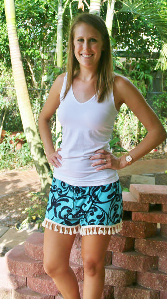 Mint & Navy Dazzle Print Shorts With Tassels - Size S-XL