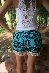 Mint & Navy Dazzle Print Shorts With Tassels - Size S-XL - Midnight Magnolia Boutique