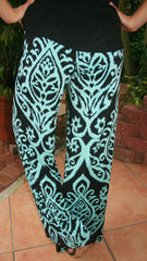 Mint & Black Damask Print Palazzo Pants - Midnight Magnolia Boutique