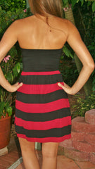 Garnet & Black Strapless Game Day Dress - Midnight Magnolia Boutique