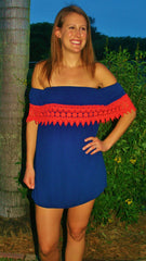 Navy & Orange Lace College Game Day Dress