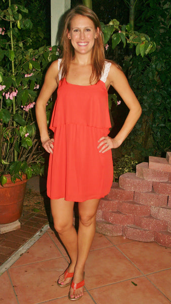 Orange & White Lace College Game Day Dress - Midnight Magnolia Boutique