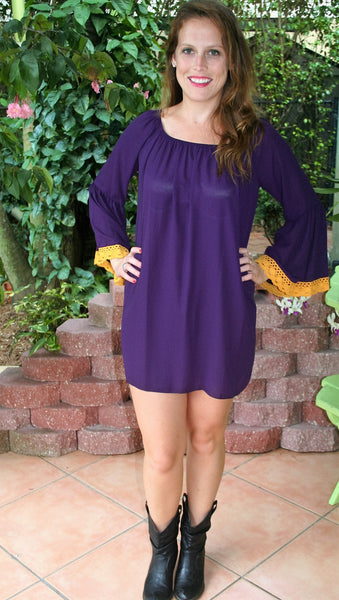 Purple & Gold Lace Tunic Game Day Dress - Midnight Magnolia Boutique