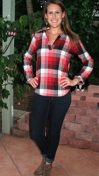 Red & Black Plaid V-Neck Flannel Shirt - Midnight Magnolia Boutique
