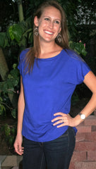 Royal Blue Short Sleeve Hi Low Top - Midnight Magnolia Boutique