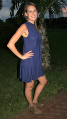 Navy Sleeveless High Neck Tank Dress - Midnight Magnolia Boutique