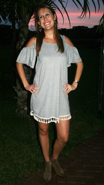 Heather Grey Dress with Cut Out Sleeves & Tassels - Midnight Magnolia Boutique