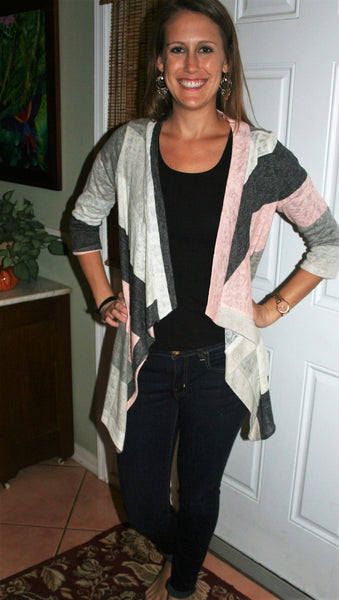 Pink/Ivory/Grey Striped Light Weight Cardigan - Midnight Magnolia Boutique