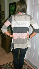 Pink/Ivory/Grey Striped Light Weight Cardigan