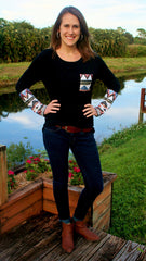 Black Long Sleeved Top with Sequins - Midnight Magnolia Boutique