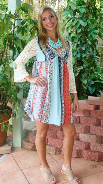 Mint and Coral Print Dress with Lace Sleeves - Midnight Magnolia Boutique