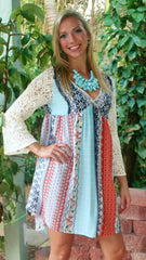 Mint and Coral Print Dress with Lace Sleeves