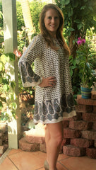 Ivory Paisley Print Lace Up Dress - Midnight Magnolia Boutique