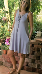 Pretty Lavender Lace Up Sleeveless Dress