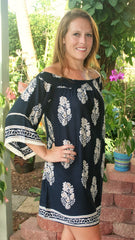 Navy Blue & Taupe Off the Shoulder Floral  Print Tunic
