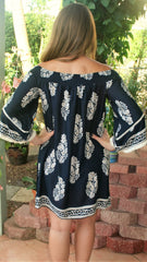 Navy Blue & Taupe Off the Shoulder Floral  Print Tunic - Midnight Magnolia Boutique