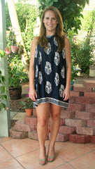 Navy& Taupe Paisley Print Halter Dress - Midnight Magnolia Boutique