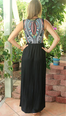 Black Aztec Print Sleeveless Maxi Dress