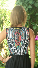 Black Aztec Print Sleeveless Maxi Dress - Midnight Magnolia Boutique