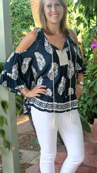 6eaaafc74c1bbc ... Navy Blue & Taupe Paisley Print Cold Shoulder Top - Midnight Magnolia  Boutique ...