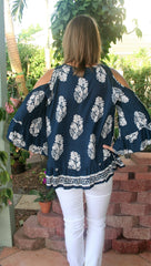 Navy Blue & Taupe Paisley Print Cold Shoulder Top