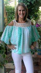 Mint Green & White Tie-Dye Lace Cold Shoulder Top