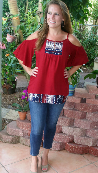 Burgundy Aztec Cold Shoulder Top - Midnight Magnolia Boutique