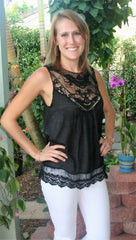 Pretty Black Lace Sleeveless Top