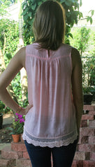 Dusty Pink Victorian Sleeveless Lace Top - Midnight Magnolia Boutique
