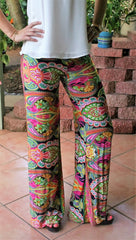 Pink Multi Print Palazzo Pants - Midnight Magnolia Boutique