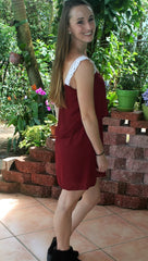 Burgundy Gameday Dress with White Lace Straps - Midnight Magnolia Boutique
