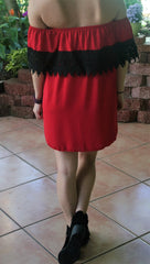Red Dress with Black Lace Strapless Gameday Dress - Midnight Magnolia Boutique