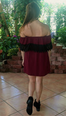 Burgundy & Black Lace College Gameday Dress
