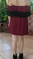 Burgundy & Black Lace College Gameday Dress - Midnight Magnolia Boutique