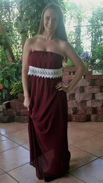 Garnet & Ivory Lace College Game Day Maxi Dress - Midnight Magnolia Boutique