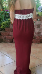 Garnet & Ivory Lace College Game Day Maxi Dress