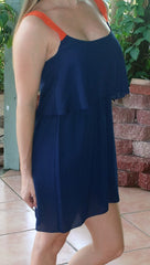 Navy Gameday Dress with Orange Lace Straps - Midnight Magnolia Boutique