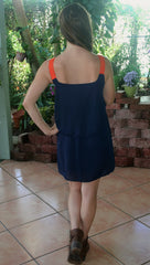 Navy Gameday Dress with Orange Lace Straps