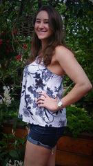 Charcoal and White Floral Print with Cut Out Back - Midnight Magnolia Boutique