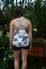 Charcoal and White Floral Print with Cut Out Back