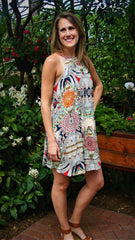 Taupe, Navy, & Coral Tribal Print Halter Dress