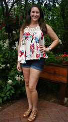 Pink, Red and Blue Floral Top with Seashell Embroidery