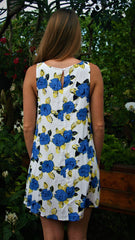 Royal Blue, Yellow and White Floral Print Sleeveless Dress