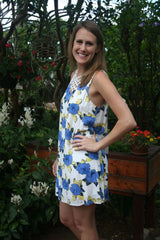 Royal Blue, Yellow and White Floral Print Sleeveless Dress - Midnight Magnolia Boutique