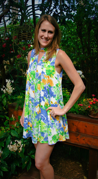 Royal Blue, Green, & Yellow Floral Print Halter Dress