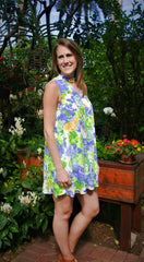 Royal Blue, Green, & Yellow Floral Print Halter Dress - Midnight Magnolia Boutique