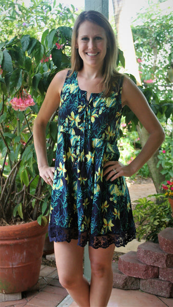 Navy Blue & Yellow Floral Print Lace Up Dress