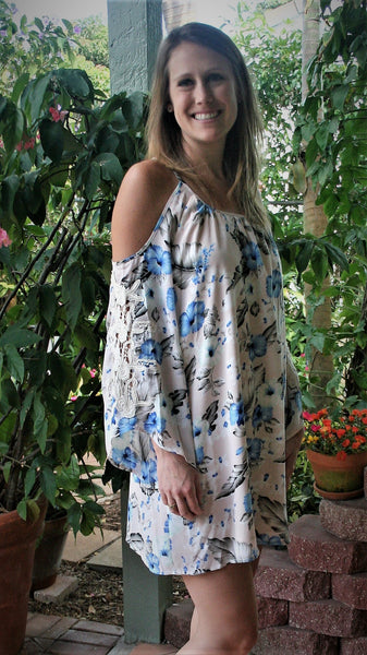 Caribbean Queen Blue & Ivory Floral Cold Shoulder Dress