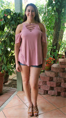 Dusty Rose Top with Cold Shoulders & Criss Cross Front - Midnight Magnolia Boutique